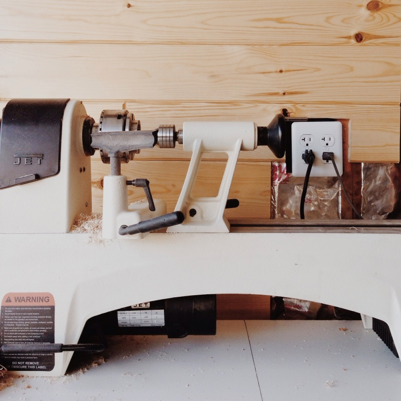 lathe in my home studio/woodshop